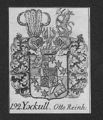 1750 - Yxkull Otto Wappen vapen coat of arms Genealogie Heraldik Kupferstich