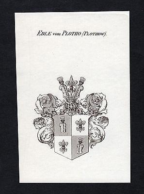 Plotho Plothow Magdeburg Wappen Adel coat of arms Kupferstich antique print