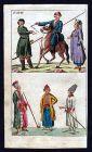 1790 Kosaken Cossacks Russia Russland Tracht costume Kupferstich antique print