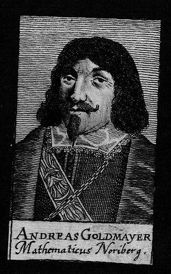 1680 - Andreas Goldmayer Mathematiker Professor Nürnberg Kupferstich Portrait