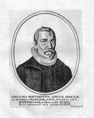 1650 Johann Buxtorf Basel Hebräisch Theologe Portrait Kupferstich antique print
