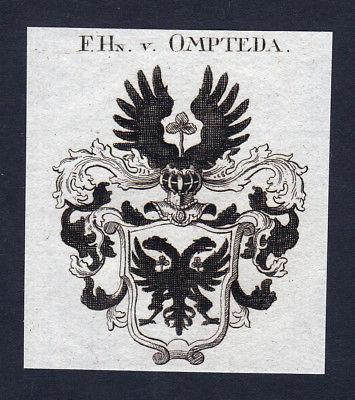 1820 Ompteda Niederlande Wappen Adel coat of arms Kupferstich engraving