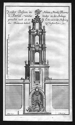 1718 Münzturm Berlin Turm Ansicht Kupferstich antique print Merian Albrecht