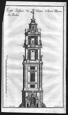 1718 Münzturm Berlin Turm Ansicht Kupferstich antique print Merian