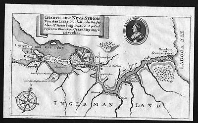 1738 Newa Sankt Petersburg Russia Karte map Plan Kupferstich antique print
