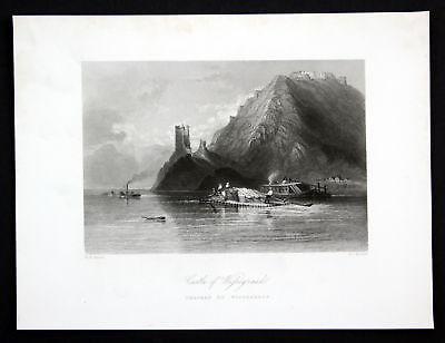 Ca. 1850 Visegrad Donau Danube Ungarn Hungary Ansicht Stahlstich antique print