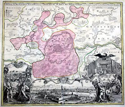 Ca. 1720 Frankfurt am Main Hanau Offenbach Mühlheim Kupferstich Karte Homann