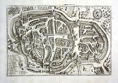 1734 St. Gallen Schweiz Ansicht Karte map Plan Kupferstich antique print Merian