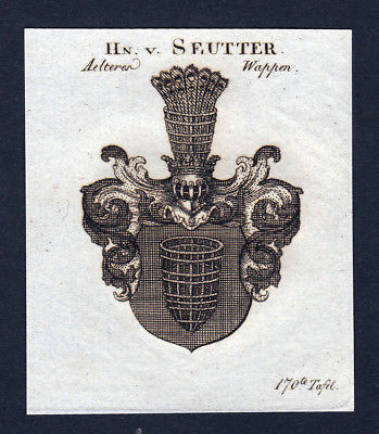 Ca. 1820 Seutter Wappen Adel coat of arms Kupferstich antique print heraldry