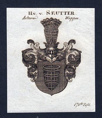 Ca. 1820 Seutter Wappen Adel coat of arms Kupferstich antique print heraldry