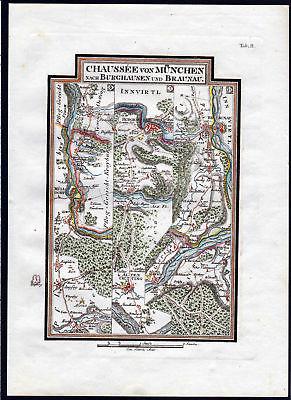 1796 Mühldorf Inn Altötting Burghausen Marktl Karte Kupferstich antique Riedl