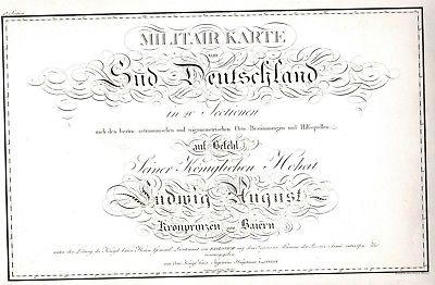 1818 - Militär Karte von Süd-Deutschland Titel Titelblatt Kupferstich