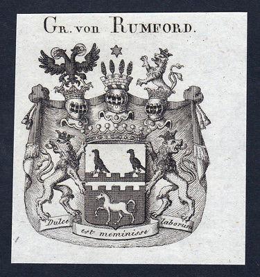 Ca. 1820 Rumford Wappen Adel coat of arms Kupferstich antique print heraldry