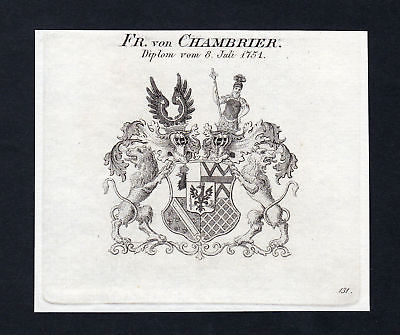 Ca. 1820 Chambrier Wappen Adel coat of arms Kupferstich antique print her 133681