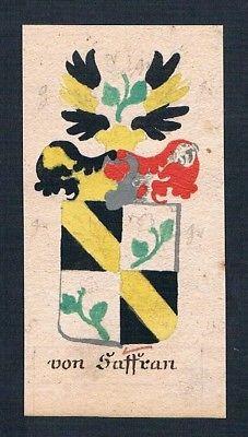 18. Jh. Saffran Manuskript Wappen Adel coat of arms heraldry Heraldik