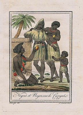 1780 - Negro Africa people costume engraving antique print