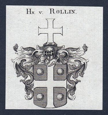 Ca. 1820 Rollin Wappen Adel coat of arms Kupferstich antique print heraldry