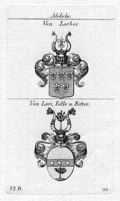 Von Lorber / Von Lori Edle Ritter / Bayern - Wappen coat of arms Heraldik herald
