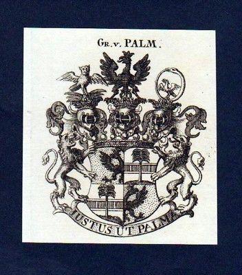 1780 - Grafen von Palm Original Kupferstich Wappen