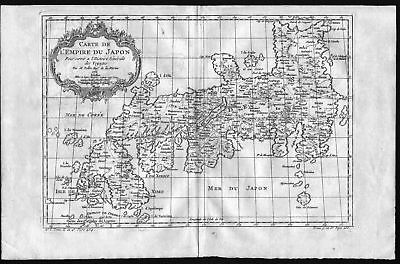 1752 Japan Nippon Asia Asien map Karte carte Kupferstich engraving Bellin
