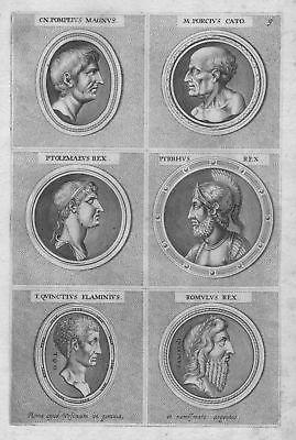 1700 Porcius Cato Ptolemaeus Rex Antike antiquity etching Kupferstich Portrait