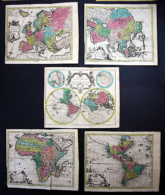 World map America Asia Europe Africa continents set of 5 maps chart Kilian 0