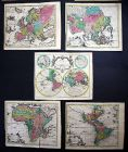 World map America Asia Europe Africa continents set of 5 maps chart Kilian