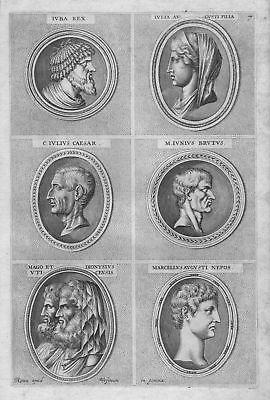 1700 Iulius Julius Caesar Iuba Rex Antike antiquity etching Kupferstich Portrait