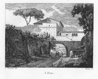1804 - Roma Rom Villa incisione stampe Bourgeois acquaforte veduta 55754