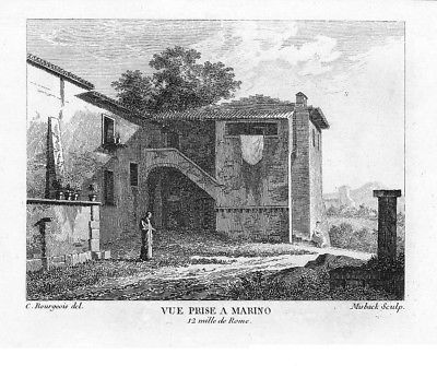 1804 - Marino Lazio incisione stampe Bourgeois acquaforte veduta 83368