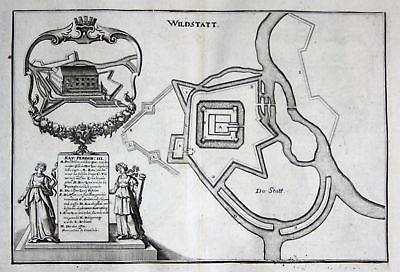 Ca. 1645 Wildstatt Wildstätt Schloss Stadt Plan Kupferstich antique print 148814