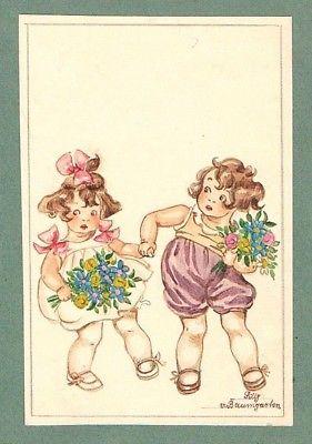 Kinder children Mädchen Tilly von Baumgarten-Haindl Zeichnung drawing