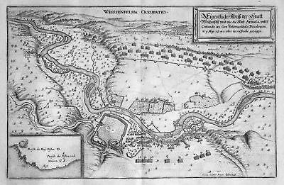 Ca. 1645 Weißenfels Belagerung Schlacht Saale Kupferstich antique print M 148816