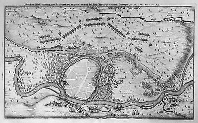 1645 Bernburg Saale Ansicht Schlacht battle Kupferstich antique print Merian