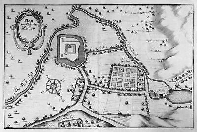 Ca. 1645 Trittau Schloss Plan Karte Ansicht Kupferstich antique print Mer 148822