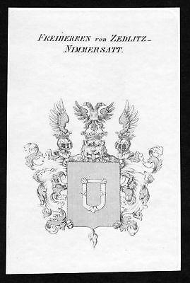 1820 - Zedlitz Nimmersatt Wappen Adel coat of arms heraldry Heraldik Kupferstich
