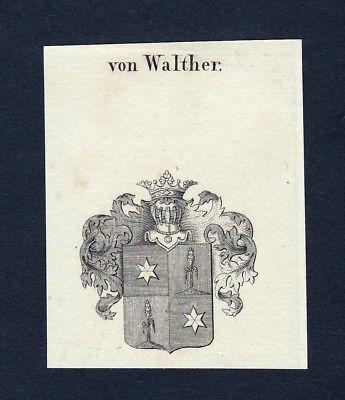 1820 Walther Wappen Adel coat of arms heraldry Heraldik Kupferstich engraving