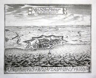 1680 Helsingborg Sverige Sweden battle Plan map Kupferstich antique print Merian