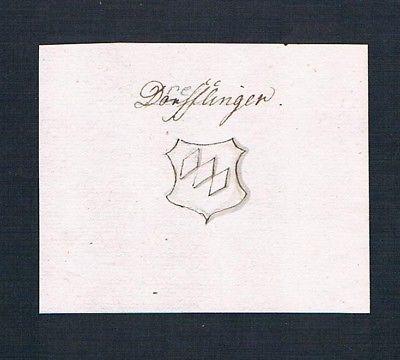 18. Jh. Derfflinger Drefflinger Manuskript Wappen manuscript coat of arms