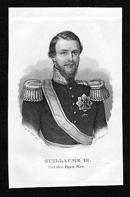 19. Jh. Willem III der Nederlanden Portrait Stahlstich engraving gravure