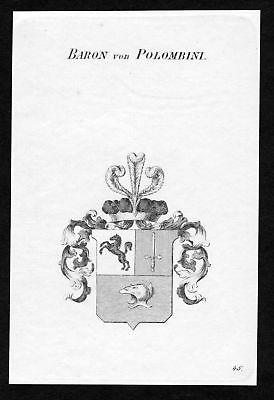 1820 - Polombini Wappen Adel coat of arms heraldry Heraldik Kupferstich