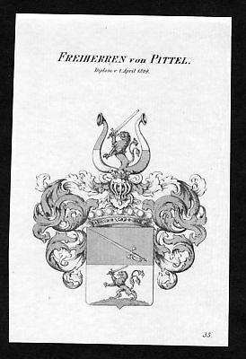 1820 - Pittel Wappen Adel coat of arms heraldry Heraldik Kupferstich