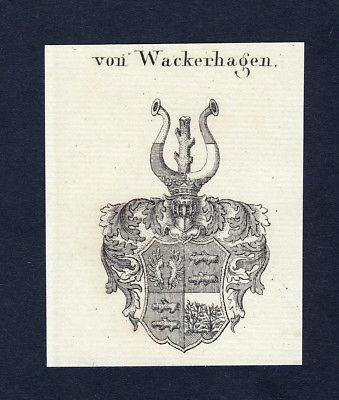 1820 Wackerhagen Wappen Adel coat of arms Heraldik Kupferstich engraving