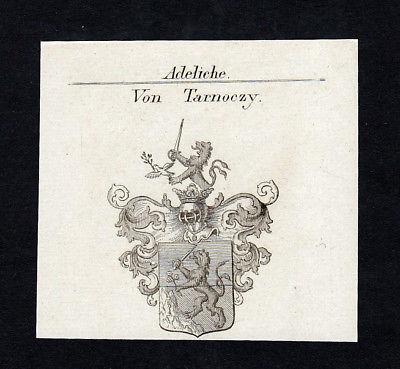 1820 Tarnoczy Maximilian Joseph Wappen Adel coat of arms Kupferstich engraving