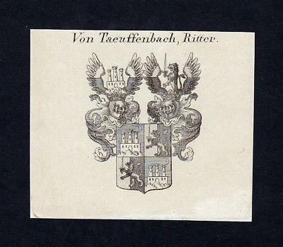 1820 Taeuffenbach Tyroff Wappen Adel coat of arms Heraldik Kupferstich engraving