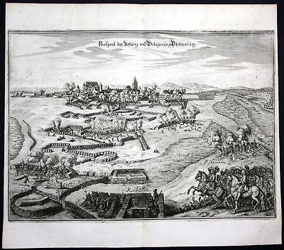 1680 Festung Philippsburg Rhein Belagerung Plan Kupferstich antique print Merian
