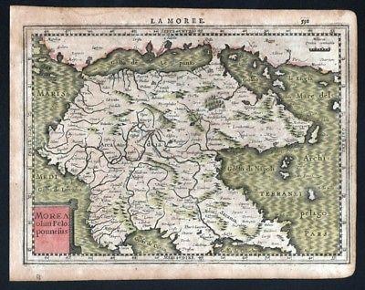 Karte Griechenland Peloponnes.1630 Morea Peloponnes Greece Griechenland Mercator Map Karte Kupferstich