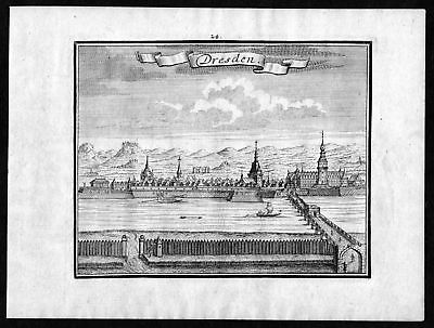 1746 Dresden Sachsen Elbe Ansicht view Kupferstich antique print 0