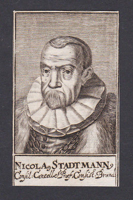 17. Jh. - Nicolaus Stadtmann / jurist Berater Brandenburg Portrait Kupferstich
