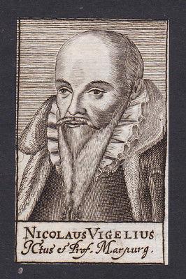 17. Jh. - Nikolaus Vigel / lawyer Jurist Marburg Portrait Kupferstich
